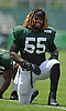 Lorenzo Mauldin #55 of the New York Jets stretches during training camp at the Atlantic Health Jets Training Center in Florham Park, NJ on Friday, Aug. 4, 2017.
