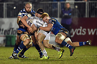 Miles Reid of Bath Rugby puts in a big tackle. Premiership Rugby Cup match, between Bath Rugby and Gloucester Rugby on February 3, 2019 at the Recreation Ground in Bath, England. Photo by: Patrick Khachfe / Onside Images