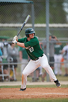 Babson Beavers right fielder Eric Jaun (27) during a game against the Edgewood Eagles on March 18, 2019 at Lee County Player Development Complex in Fort Myers, Florida.  Babson defeated Edgewood 23-7.  (Mike Janes/Four Seam Images)