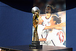 12 July 2009: The 1999 Women's World Cup championship trophy was on display as part of a league tribute on the tenth anniversary of the United States' triumph in that tournament. Sky Blue FC defeated the Boston Breakers 2-1 at Harvard Stadium in Cambridge, Massachusetts in a regular season Women's Professional Soccer game.