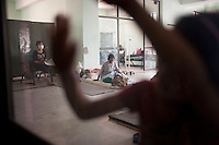 Victims of Nepal earthquake stays in a Truma center in Kathmandu, Nepal. May 05, 2015
