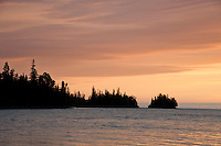 Sunrise over Duncan Bay looking towards Black Point at Isle Royale National Park.