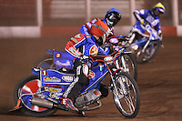 Heat 6: Andreas Jonsson (red), Leigh Lanham (blue) and Freddie Eriksson (yellow) - Lakeside Hammers vs Poole Pirates, Elite League Grand Final 1st leg at The Arena Essex Raceway, Lakeside - 08/08/08 - MANDATORY CREDIT: Rob Newell/TGSPHOTO