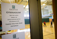 NWA Democrat-Gazette/JASON IVESTER<br /> A dehumidifier was not placed in the HVAC system for the gym at the Bentonville Community Center when it was built which has caused issues with the gym floor. In order to correct those issues, the gym will be closed for about 30 to 45 days starting Monday. It's a $57,000 mistake that the contractor and architect will split.