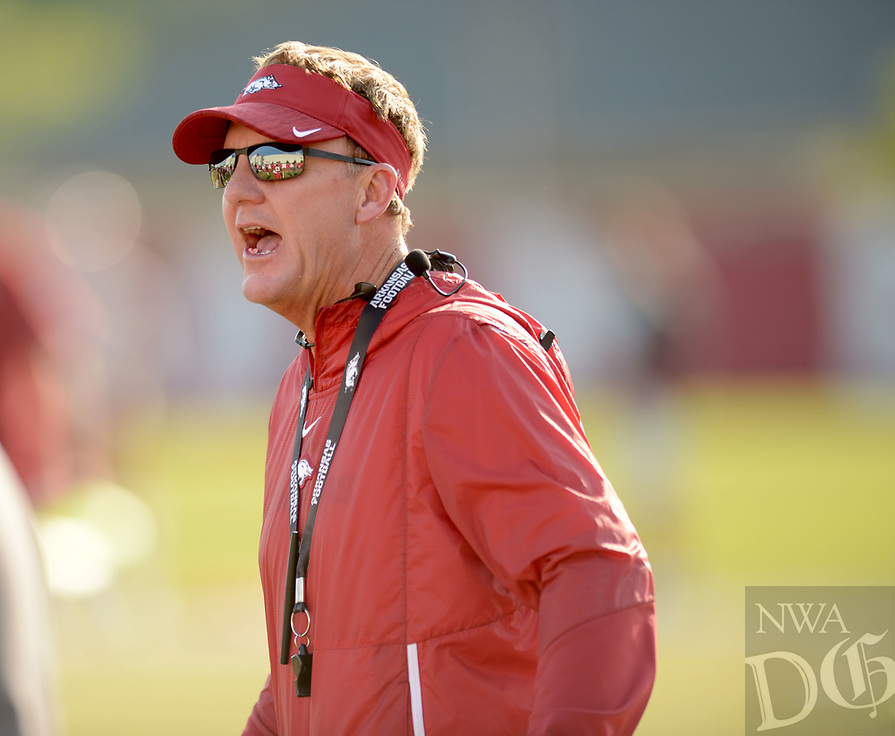 NWA Democrat-Gazette/ANDY SHUPE<br /> Arkansas coach Chad Morris directs his players Friday, Aug. 3, 2018, during practice at the university practice field on campus in Fayetteville. Visit nwadg.com/photos to see more photographs from the practice.