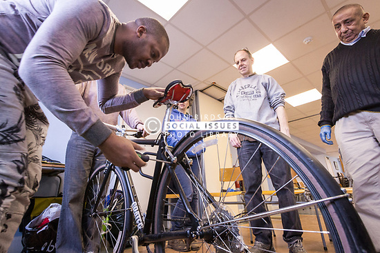 Bicycle maintenance workshop, London Borough of Haringey, London 2015 UK