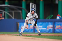 Mahoning Valley Scrappers center fielder Austen Wade (40) leads off first base during a game against the Williamsport Crosscutters on July 8, 2017 at BB&T Ballpark at Historic Bowman Field in Williamsport, Pennsylvania.  Williamsport defeated Mahoning Valley 6-1.  (Mike Janes/Four Seam Images)