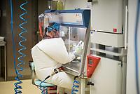Pressetermin des Robert Koch-Instituts vor der Inbetriebnahme des Hochsicherheitslabors der Schutzstufe S4.<br /> In dem Labor der hoechsten Schutzstufe koennen am Standort Seestra&szlig;e in Berlin-Wedding hochansteckende, lebensbedrohliche Krankheitserreger wie Ebola-, Lassa- oder Nipah-Viren sicher untersucht werden.<br /> Der Betriebsbeginn ist am 31. Juli 2018.<br /> Im Bild: Eine Mitarbeiterin des S4-Labor bei der Anaylse von Proben.<br /> ACHTUNG: Sperrfrist der Veroeffentlichung ist bis 25. Juli 2018 9.00 Uhr!<br /> 24.7.2018, Berlin<br /> Copyright: Christian-Ditsch.de<br /> [Inhaltsveraendernde Manipulation des Fotos nur nach ausdruecklicher Genehmigung des Fotografen. Vereinbarungen ueber Abtretung von Persoenlichkeitsrechten/Model Release der abgebildeten Person/Personen liegen nicht vor. NO MODEL RELEASE! Nur fuer Redaktionelle Zwecke. Don't publish without copyright Christian-Ditsch.de, Veroeffentlichung nur mit Fotografennennung, sowie gegen Honorar, MwSt. und Beleg. Konto: I N G - D i B a, IBAN DE58500105175400192269, BIC INGDDEFFXXX, Kontakt: post@christian-ditsch.de<br /> Bei der Bearbeitung der Dateiinformationen darf die Urheberkennzeichnung in den EXIF- und  IPTC-Daten nicht entfernt werden, diese sind in digitalen Medien nach &sect;95c UrhG rechtlich geschuetzt. Der Urhebervermerk wird gemaess &sect;13 UrhG verlangt.]