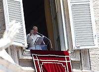 Pope Francis recites the Sunday Angelus noon prayer from the window of his studio overlooking St.Peter's Square, at the Vatican, Sunday, June 7, 2020.<br /> UPDATE IMAGES PRESS/Isabella Bonotto<br /> <br /> STRICTLY ONLY FOR EDITORIAL USE