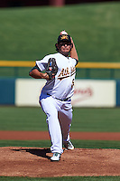Mesa Solar Sox pitcher Sean Manaea (54) delivers a pitch during an Arizona Fall League game against the Glendale Desert Dogs on October 14, 2015 at Sloan Park in Mesa, Arizona.  Glendale defeated Mesa 7-6.  (Mike Janes/Four Seam Images)