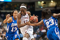 NORFOLK, VA--Chiney Ogwumike splits two defenders in comptetition against Hampton University at the Ted Constant Convocation Center at Old Dominion University in Norfolk, VA in the first round of the 2012 NCAA Championships. The Cardinal advanced with a 73-51 win to play West Virginia on Monday, March 19.