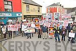 Protest rally pictured outside Minister Jimmy Deenihan's office in Listowel on Saturday.