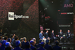 Giro d'Italia 2018 Route Presentation held in the RAI TV Studios, Milan, Italy. 29th November 2017.<br /> Picture: LaPresse/Fabio Ferrari | Cyclefile<br /> <br /> <br /> All photos usage must carry mandatory copyright credit (&copy; Cyclefile | LaPresse/Fabio Ferrari)