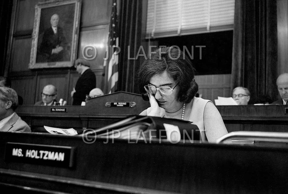Washington DC, 1973. Elizabeth Holtzman (D-New York)  during Watergate hearings. A break in at the Democratic National Committee headquarters at the Watergate complex on June 17, 1972 results in one of the biggest political scandals the US government has ever seen.  Effects of the scandal ultimately led to the resignation of  President Richard Nixon, on August 9, 1974, the first and only resignation of any U.S. President.