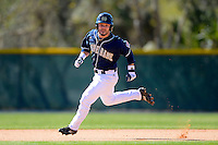 Notre Dame Fighting Irish second baseman Frank DeSico #35 looks to third while running the bases during a game against the Mercer Bears at the Buck O'Neil Complex on February 17, 2013 in Sarasota, Florida.  Mercer defeated Notre Dame 5-4.  (Mike Janes/Four Seam Images)
