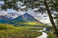 King Mountain, Matanuska River, Matanuska Valley along the Glenn Highway, Alaska.