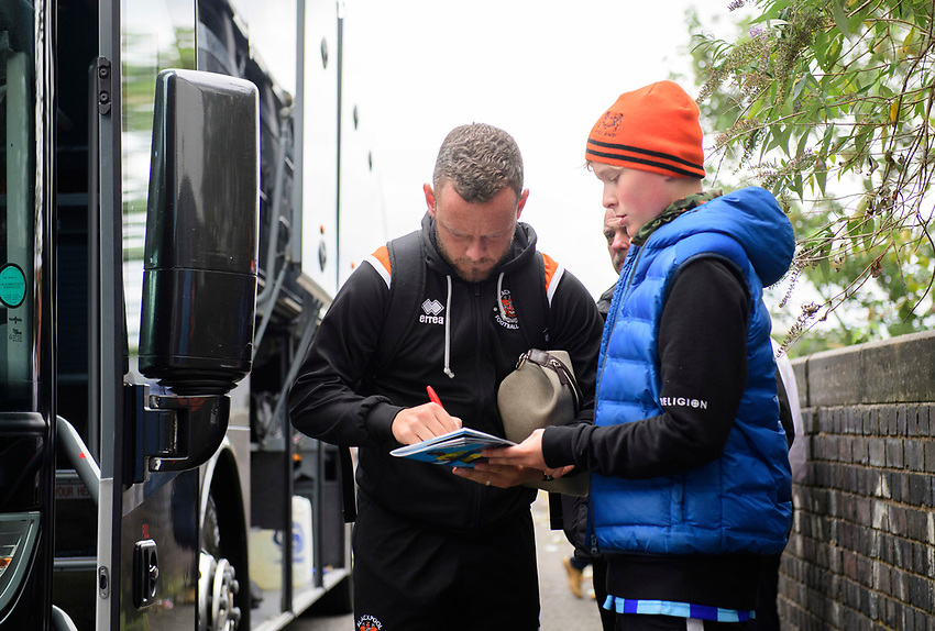 Blackpool's Jay Spearing signs an autograph for a fan after arriving at the ground<br /> <br /> Photographer Chris Vaughan/CameraSport<br /> <br /> The EFL Sky Bet League One - Coventry City v Blackpool - Saturday 7th September 2019 - St Andrew's - Birmingham<br /> <br /> World Copyright © 2019 CameraSport. All rights reserved. 43 Linden Ave. Countesthorpe. Leicester. England. LE8 5PG - Tel: +44 (0) 116 277 4147 - admin@camerasport.com - www.camerasport.com