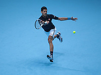 Novak Djokovic (SRB)(2) action against David Goffin (BEL)(9) in their  Ivan Lendl Group  match during Day Five  of the Barclays ATP World Tour Finals 2015 played at The O2 Arena, London on November 17th  2016