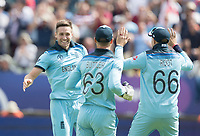 Chris Woakes (England) celebrates the wicket of Peter Handscomb during Australia vs England, ICC World Cup Semi-Final Cricket at Edgbaston Stadium on 11th July 2019