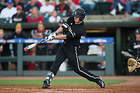 Brendan McKay (38) of the Louisville Cardinals at bat against the Notre Dame Fighting Irish in Game Eight of the 2017 ACC Baseball Championship at Louisville Slugger Field on May 25, 2017 in Louisville, Kentucky.  The Cardinals defeated the Fighting Irish 10-3.  (Brian Westerholt/Four Seam Images)