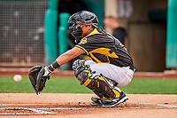 Carlos Perez (19) of the Salt Lake Bees between innings against the Omaha Storm Chasers in Pacific Coast League action at Smith's Ballpark on May 8, 2017 in Salt Lake City, Utah. Salt Lake defeated Omaha 5-3. (Stephen Smith/Four Seam Images)