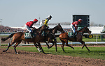 LIVERPOOL - APRIL 14: #13 Tiger Roll, the eventual winner, leads a group across the Melling Road in the Randox Health Grand National Steeplechase at Aintree Racecourse in Liverpool, UK (Photo by Sophie Shore/Eclipse Sportswire/Getty Images)