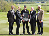 Jamie Donaldson (EUR) paid a return visit to The Gleneagles Hotel's PGA Centenary Course today to unveil a commemorative plaque marking his winning Ryder Cup shot. Bernard Murphy, Gleneagles' Managing Director and Richard Hills, Ryder Cup Director, Sandy Jones CEO of the PGA, David Murchie Chairmain of PGA as well as members of the media were on hand to witness the evengt <br /> <br />  . 13-May-15<br /> Picture Stuart Adams, www.golftourimages.com