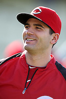 Joey Votto #19 of the Cincinnati Reds before a game against the Los Angeles Dodgers at Dodger Stadium on July 3, 2012 in Los Angeles, California. Los Angeles defeated Cincinnati 3-1. (Larry Goren/Four Seam Images)