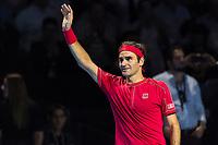 27th October 2019; St. Jakobshalle, Basel, Switzerland; ATP World Tour Tennis, Swiss Indoors Final; Roger Federer (SUI) celebrates victory after the match against Alex de Minaur (AUS) - Editorial Use