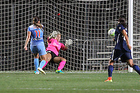 Piscataway, NJ - Saturday Aug. 27, 2016: Sofia Huerta scores, Carolyn Stanley during a regular season National Women's Soccer League (NWSL) match between Sky Blue FC and the Chicago Red Stars at Yurcak Field.