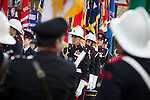 © Joel Goodman - 07973 332324 . 02/09/2013 . Bury , UK . 100s of fire service personnel lined the streets of Bury leading up to the church . The funeral of fireman Stephen Hunt at Bury Parish Church today (Tuesday 3rd September 2013) . Stephen Hunt died whilst tackling a blaze at Paul's Hair World in Manchester City Centre in July 2013 . Photo credit : Joel Goodman