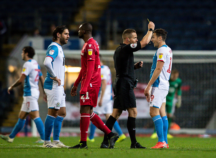 Blackburn Rovers' Stewart Downing (right) receives a yellow card from referee Stephen Martin <br /> <br /> Photographer Andrew Kearns/CameraSport<br /> <br /> The EFL Sky Bet Championship - Blackburn Rovers v Nottingham Forest - Tuesday 1st October 2019  - Ewood Park - Blackburn<br /> <br /> World Copyright © 2019 CameraSport. All rights reserved. 43 Linden Ave. Countesthorpe. Leicester. England. LE8 5PG - Tel: +44 (0) 116 277 4147 - admin@camerasport.com - www.camerasport.com