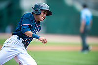 NWA Democrat-Gazette/CHARLIE KAIJO Northwest Arkansas Naturals shortstop Nicky Lopez (3) rounds third base for a score during a baseball game, Sunday, May 13, 2018 at Arvest Ballpark in Springdale.