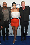 Left to right Shemar Moore, Stephanie Sigman and Kenny Johnson arrive at the CBS Upfront at The Plaza Hotel in New York City on May 17, 2017.