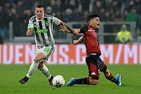30th October 2019; Allianz Stadium, Turin, Italy; Serie A Football, Juventus versus Genoa; Kevin Agudelo of Genoa FC and Federico Bernardeschi of Juventus compete for the ball - Editorial Use