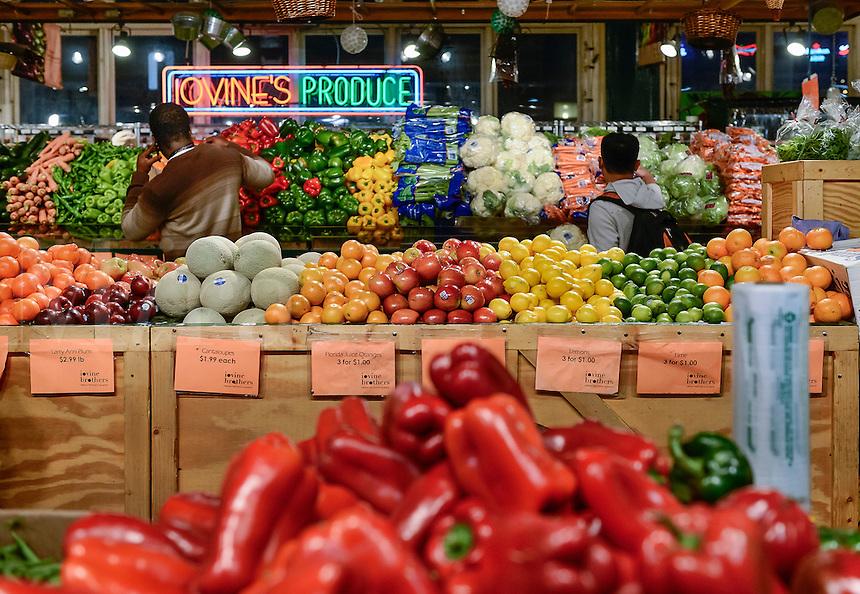 Fresh produce on display in the Reading Terminal Market, Philadelphia, Pennsylvania, USA