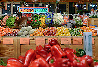 Fresh produce on display in the Reading Terminal Market, Philadelphia, Pennsylvania, USA
