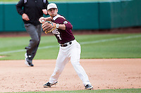 Joey Hawkins #7 of the Missouri State Bears throws to first base during a game against the Wichita State Shockers at Hammons Field on May 5, 2013 in Springfield, Missouri. (David Welker/Four Seam Images)