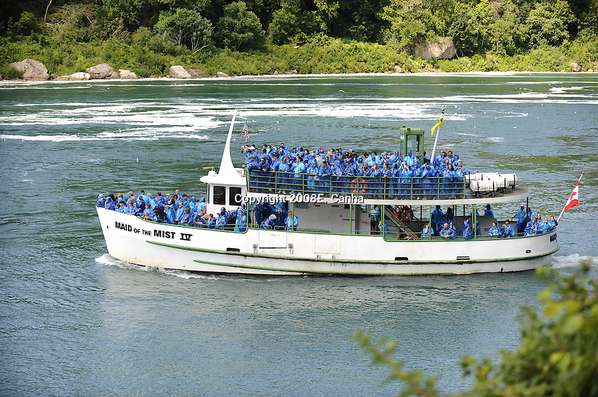 A Maid of the Mist boat leaves the New York side of the Niagara River and heads to the Horseshoe Falls.
