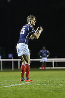 Peter Lydon of London Scottish prepares to kick a conversion during the Greene King IPA Championship match between London Scottish Football Club and Nottingham Rugby at Richmond Athletic Ground, Richmond, United Kingdom on 16 October 2015. Photo by David Horn.