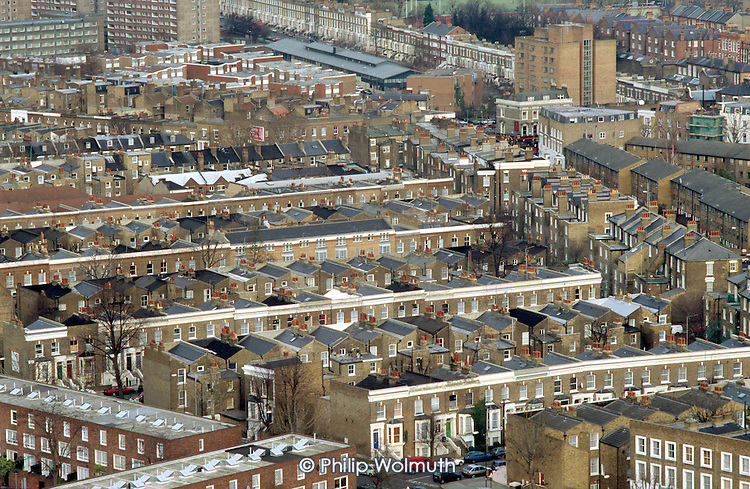 The 'ladder' of terraced Victorian housing that forms th heart of Walterton Estate, North Paddington, London. The estate is run by the resident controlled Walterton and Elgin Community Homes following transfer of ownership from Westminster City Council.