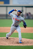 St. Lucie Mets starting pitcher Marcos Molina (27) delivers a pitch during a game against the Lakeland Flying Tigers on June 11, 2017 at Joker Marchant Stadium in Lakeland, Florida.  Lakeland defeated St. Lucie 1-0.  (Mike Janes/Four Seam Images)