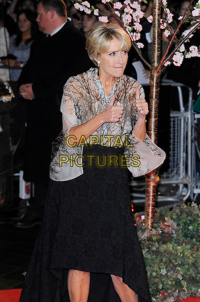 Emma Thompson<br /> attending the 57th BFI London Film Festival Closing Night Gala World Premiere of 'Saving Mr Banks', Odeon Cinema, Leicester Square, London, England. <br /> 20th October 2013<br /> half length black skirt beige white pattern blouse top hands thumbs up <br /> CAP/MAR<br /> &copy; Martin Harris/Capital Pictures
