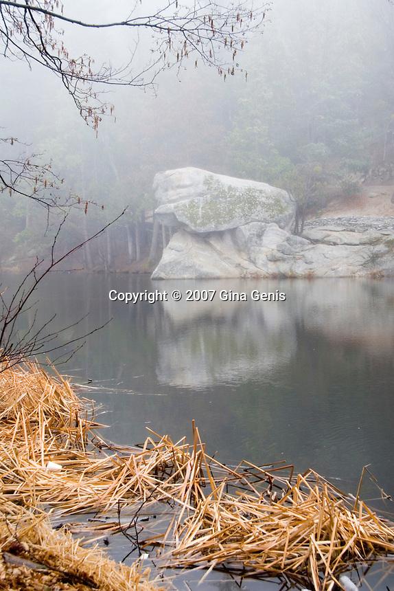 Mist shrouding horsehead rock at Lake Fulmor
