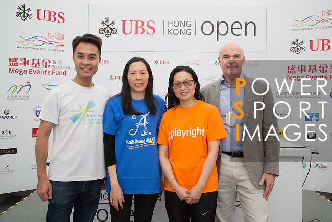 (L-R) Charity representatives Gary Wong, from Inspiring Hong Kong Sports Foundation, Silvia Chia, from Autism Partnership Foundation, Blondi Kwok, from Payright, and David Boehm, from The Hub Hong Kong, take part in the Charity Cup press conference on the sidelines of the 58th UBS Hong Kong Golf Open as part of the European Tour on 10 December 2016, at the Hong Kong Golf Club, Fanling, Hong Kong, China. Photo by Vivek Prakash / Power Sport Images