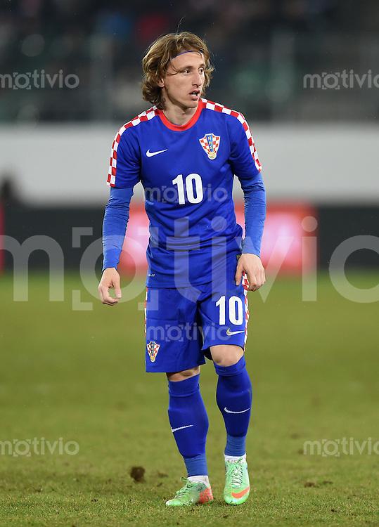 FUSSBALL INTERNATIONALES TESTSPIEL in Sankt Gallen Schweiz - Kroatien       05.03.2014 Luka Modric (Kroatien)