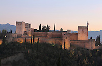 The Alcazaba, the defensive fortress of the Alhambra Palace, Granada, Andalusia, Southern Spain, built under Mohammed I in the 13th century. The Alhambra was begun in the 11th century as a castle, and in the 13th and 14th centuries served as the royal palace of the Nasrid sultans. The huge complex contains the Alcazaba, Nasrid palaces, gardens and Generalife. Picture by Manuel Cohen