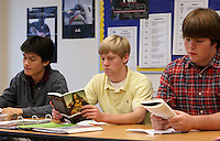 Photos showing discussion of The Scarlet Letter in a junior English class in the Upper School of the Potomac School in McLean, Virginia.
