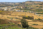 Rural landscape view from Zebbug of Ghasri village and valley,  Gozo, Malta