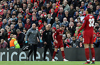 Jordan Henderson prepares to re-join the action after receiving treatment for a knee injury during the first half<br /> <br /> Photographer Rich Linley/CameraSport<br /> <br /> UEFA Champions League Semi-Final 2nd Leg - Liverpool v Barcelona - Tuesday May 7th 2019 - Anfield - Liverpool<br />  <br /> World Copyright © 2018 CameraSport. All rights reserved. 43 Linden Ave. Countesthorpe. Leicester. England. LE8 5PG - Tel: +44 (0) 116 277 4147 - admin@camerasport.com - www.camerasport.com